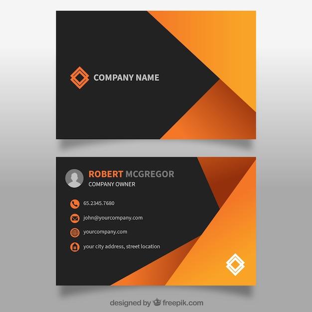 Абстрактная визитная карточка в оранжевый Бесплатные векторы
