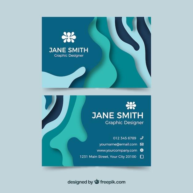 Абстрактная визитная карточка в синем Бесплатные векторы