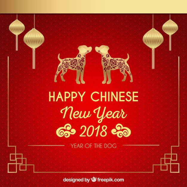 赤&黄金の中国の新年の背景 無料ベクター