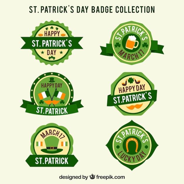 聖パトリックの日のバッジ/ラベルコレクション 無料ベクター
