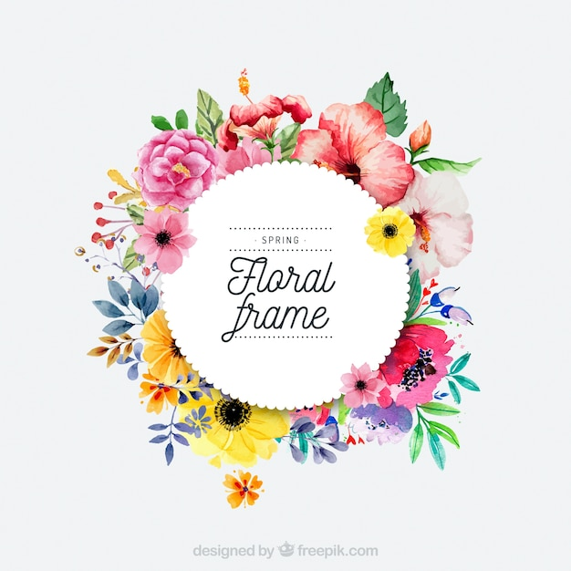 水彩春の花のフレーム 無料ベクター