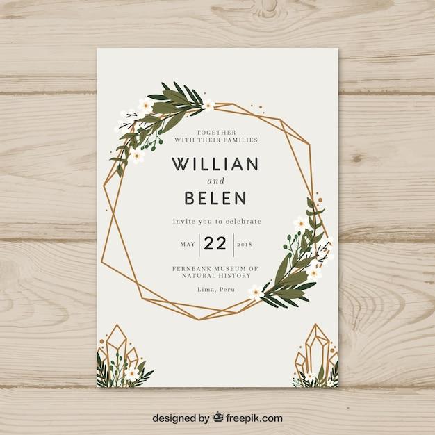 花輪とシンプルな手描きの結婚式の招待状 無料ベクター