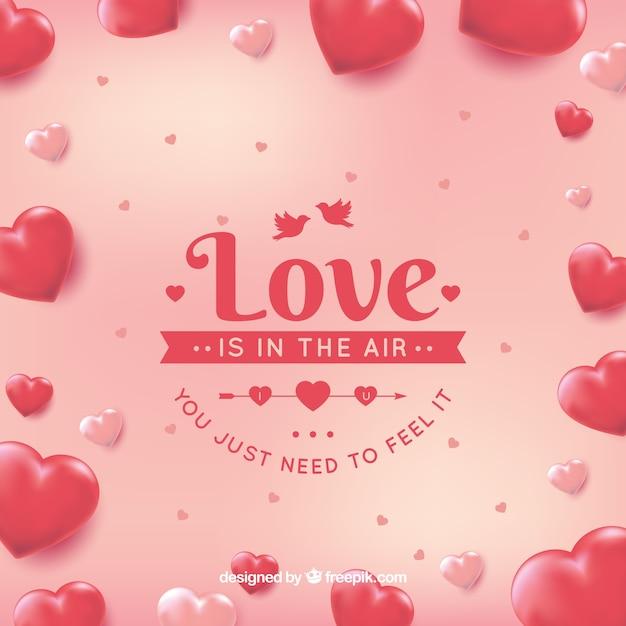 Любовь фон с сердечками Бесплатные векторы