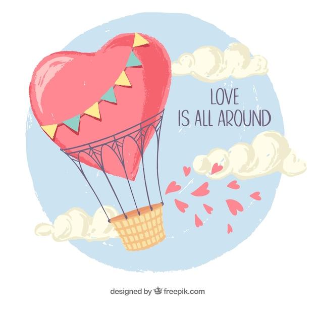 Любовь фон с воздушным шаром Бесплатные векторы
