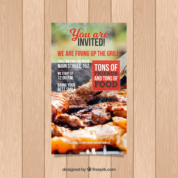 肉の写真とbbqの招待状のテンプレート ベクター画像 無料ダウンロード