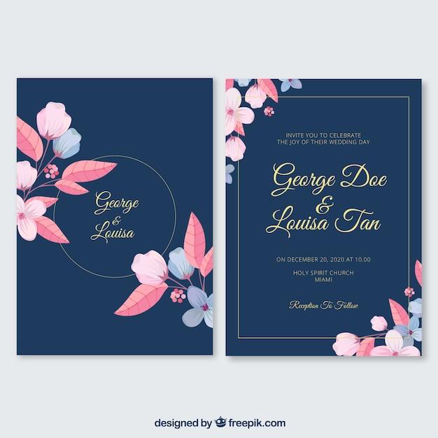 花のフレームとフラット結婚式の招待状 無料ベクター