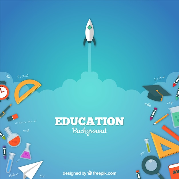 フラットスタイルの教育要素の背景 無料ベクター