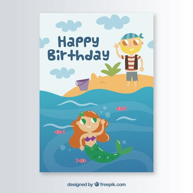 マーメイドの誕生日カードテンプレート ベクター画像 無料ダウンロード