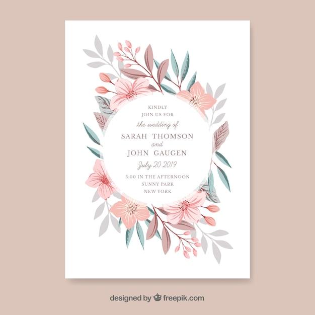手描きの花と結婚式の招待状 無料ベクター