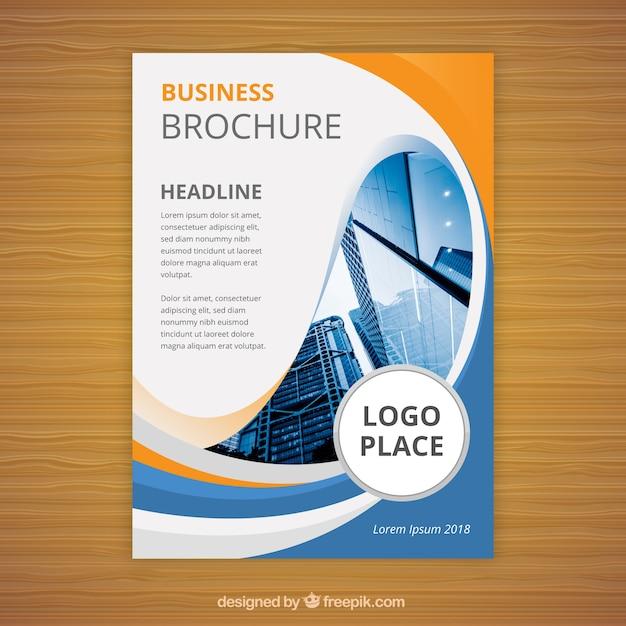 フラットビジネスパンフレットa5サイズ 無料ベクター