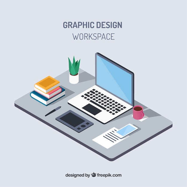 グラフィックデザインワークスペースの背景 無料ベクター