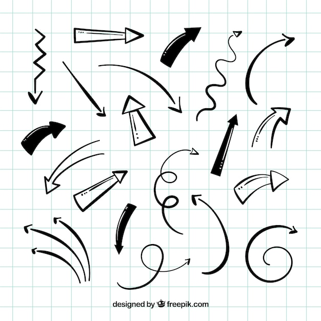 手描きの矢のパック 無料ベクター