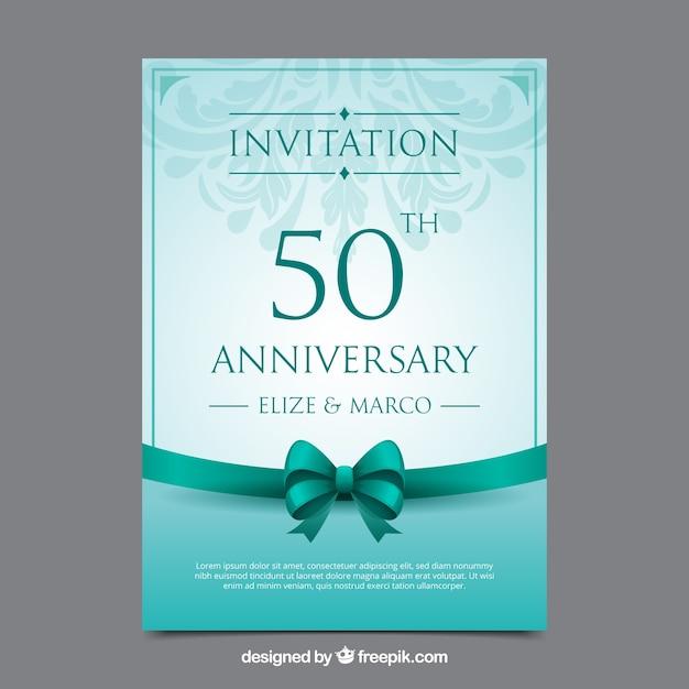 現実的なスタイルの結婚記念日カード 無料ベクター