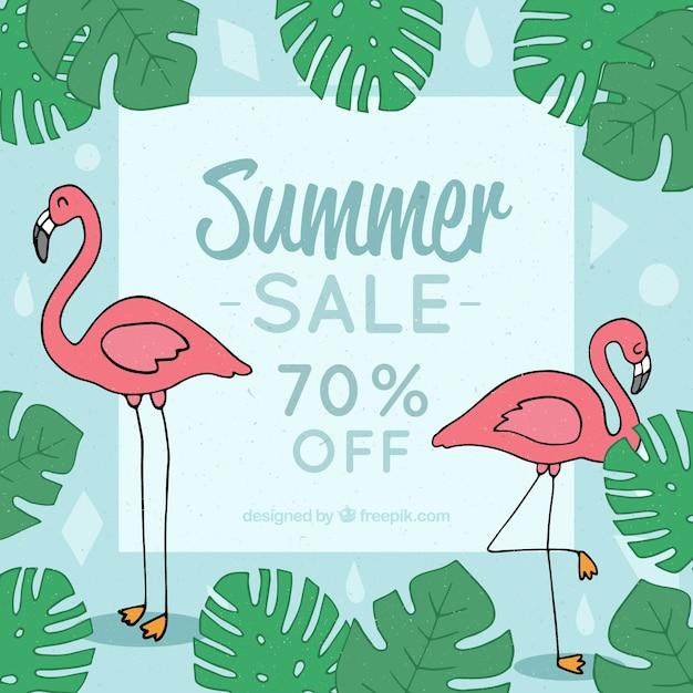 フラミンゴと植物の夏の販売テンプレート ベクター画像 無料ダウンロード