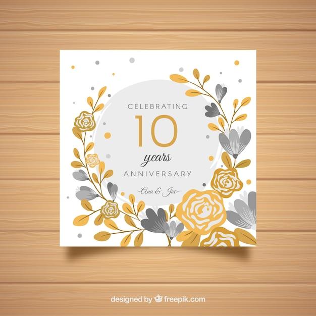 黄金の花と結婚式のanniversatyカード 無料ベクター