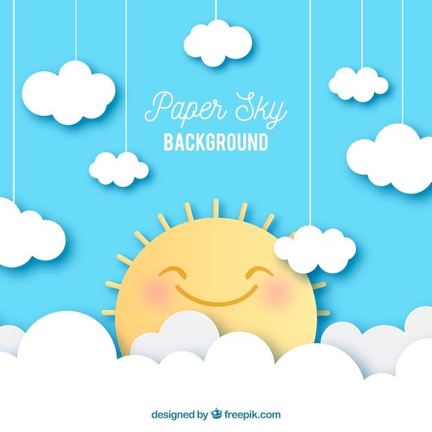 紙のテクスチャの雲とかわいい太陽の背景と空 無料ベクター