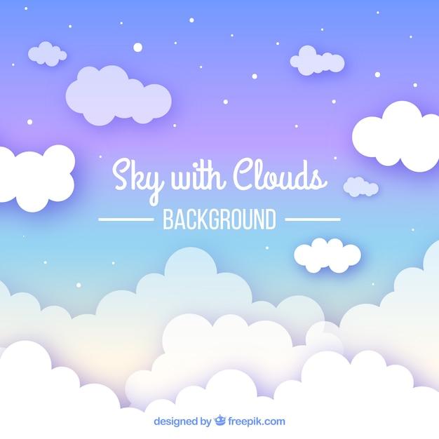 フラットスタイルの曇った空の背景 無料ベクター