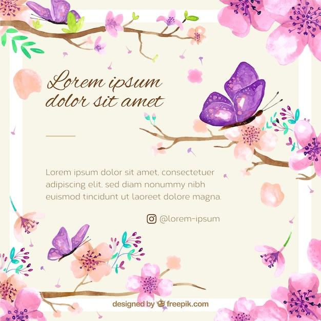 桜の背景と水彩の花 無料ベクター