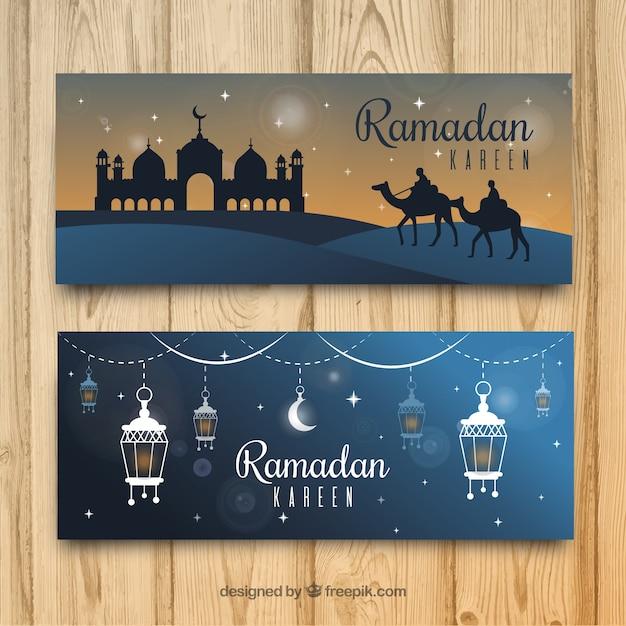 モスクと装飾品を備えたラマダの旗のセット 無料ベクター