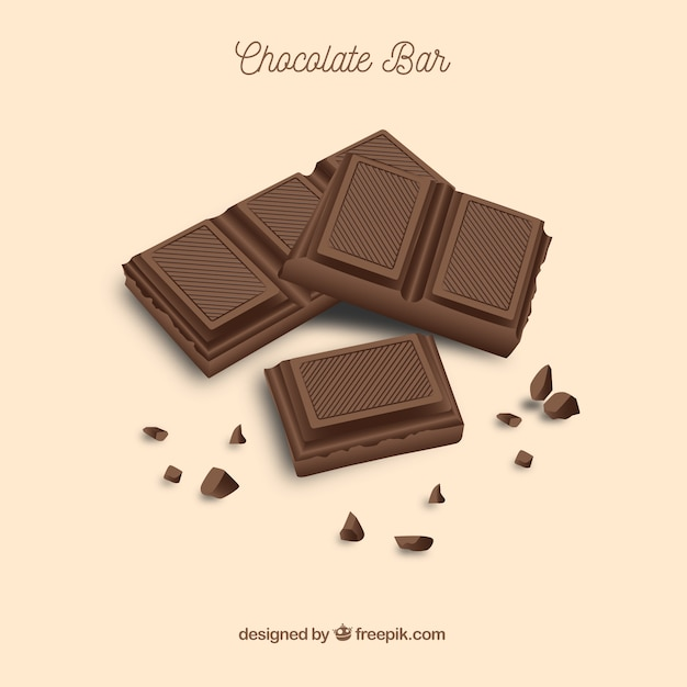 さまざまなチョコレートとバーとピースのセット 無料ベクター