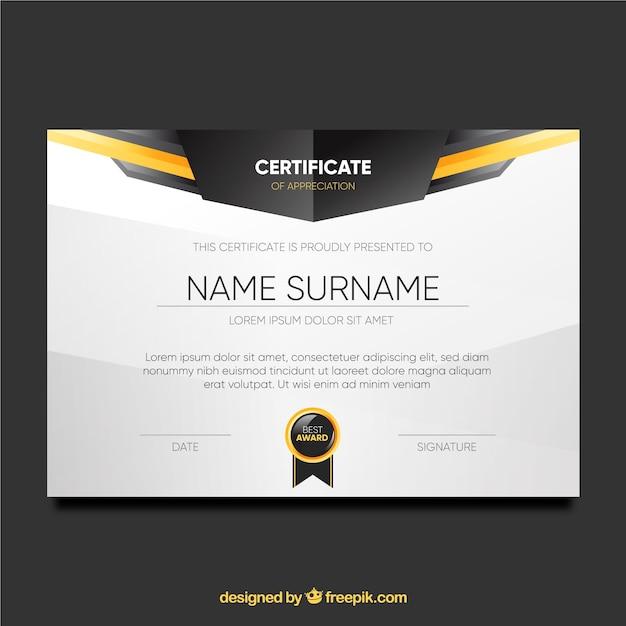 Элегантный сертификат шаблона Бесплатные векторы