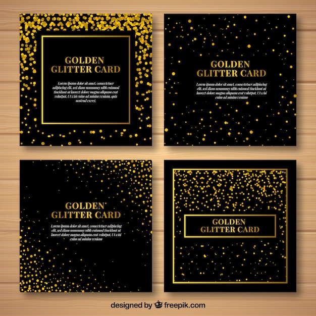 ゴールデンカラーのキラキラカードコレクション 無料ベクター