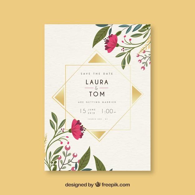 花や装飾品でデートカードを保存する 無料ベクター