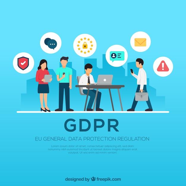 Европейская концепция gdpr с плоским дизайном Бесплатные векторы