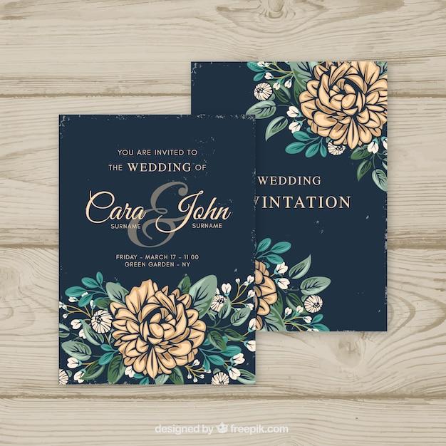 ヴィンテージスタイルの結婚式招待状 無料ベクター