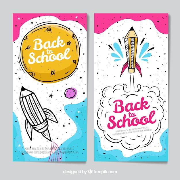 Снова обращается к школьным баннерам Бесплатные векторы
