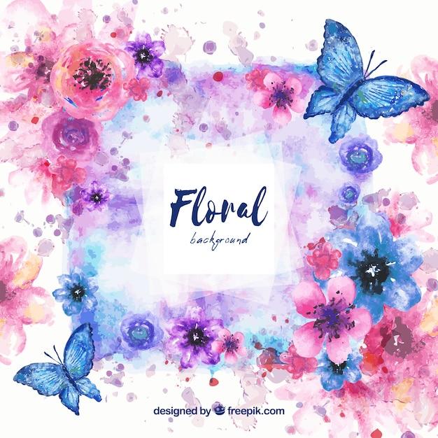 水彩の花の背景 無料ベクター