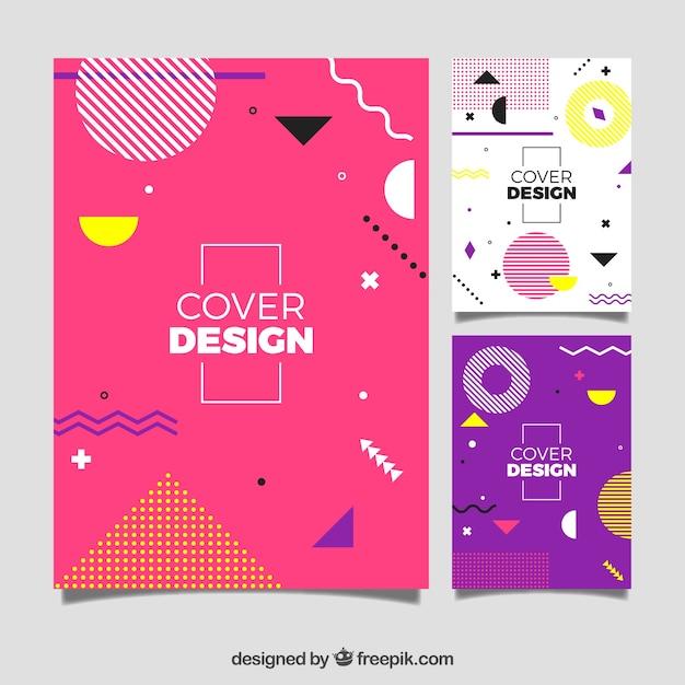 Современный шаблон шаблона обложки с геометрическим дизайном Бесплатные векторы