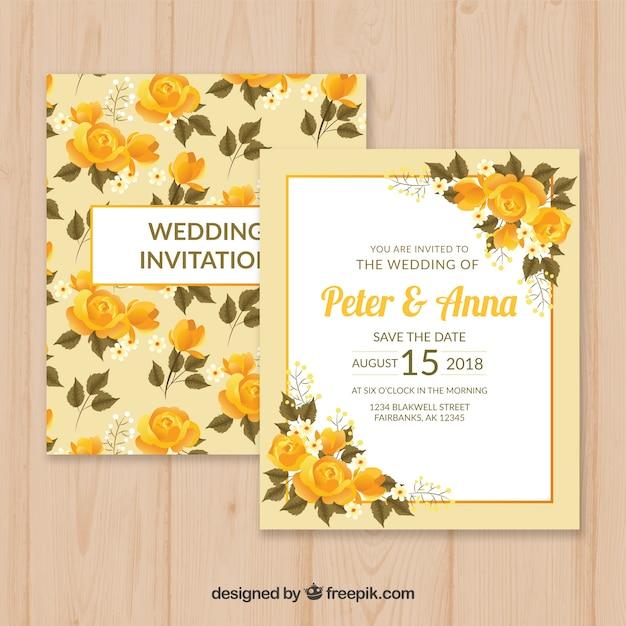 花のスタイルとヴィンテージウェディングカードのテンプレート 無料ベクター