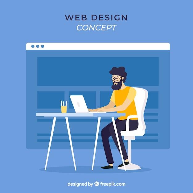 フラットデザインのWebデザインコンセプト 無料ベクター