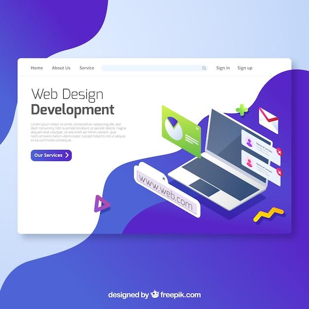 最新のウェブデザインのランディングページのコンセプト 無料ベクター