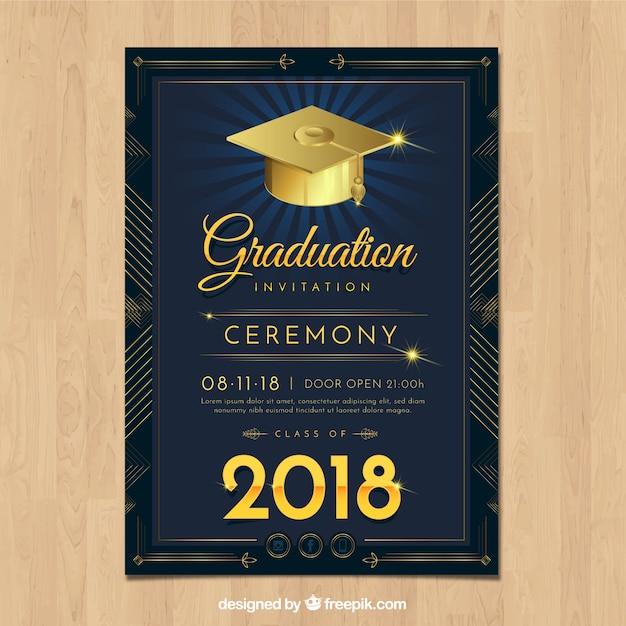 Элегантный шаблон приглашения для выпускников с реалистичным дизайном Бесплатные векторы