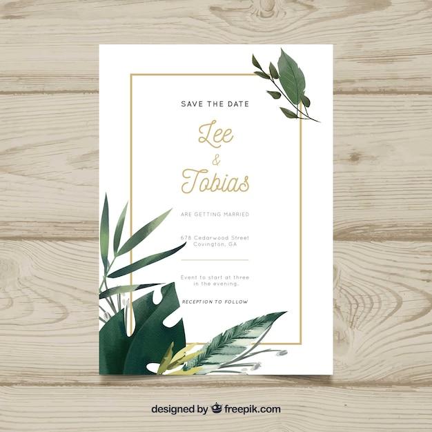 美しい結婚式の招待状 無料ベクター