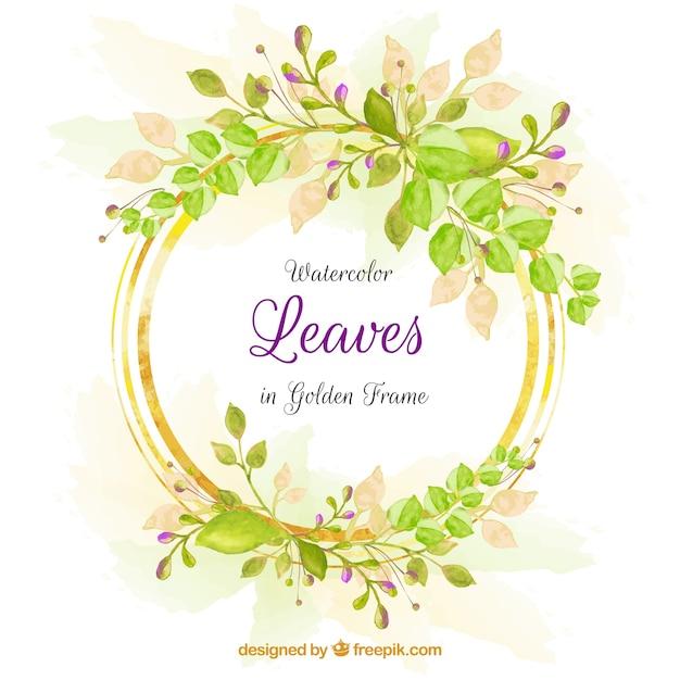 葉のフレームと素敵な水彩の背景 無料ベクター