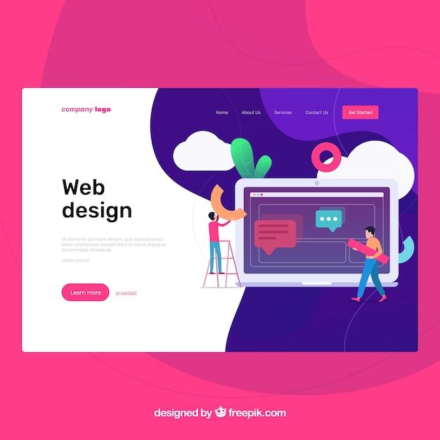 ウェブデザインコンセプトのランディングページテンプレート 無料ベクター