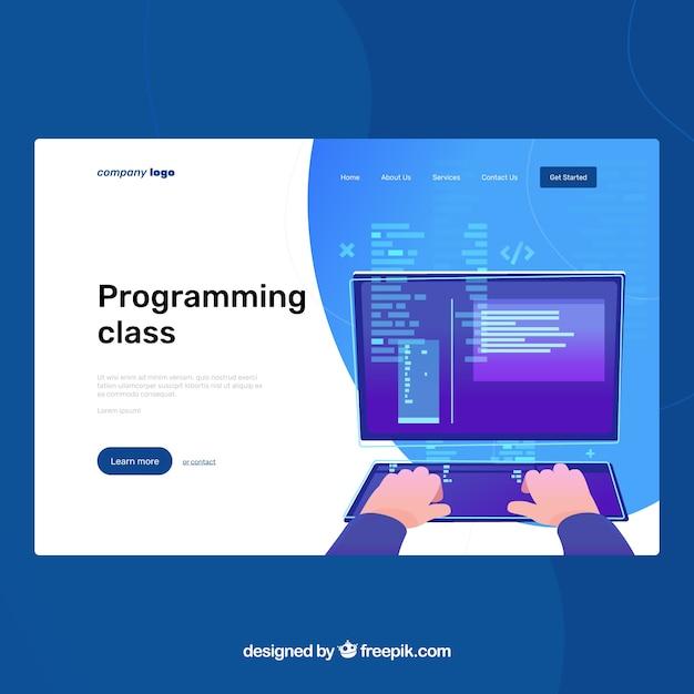 プログラミングコンセプトのランディングページテンプレート 無料ベクター