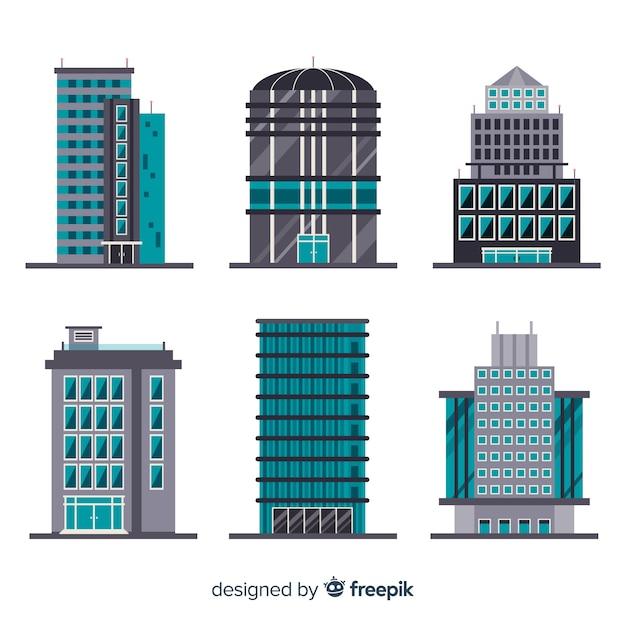 フラットデザインの現代オフィスビルコレクション 無料ベクター