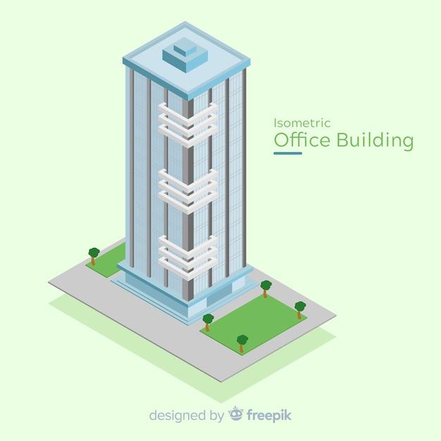 現代のオフィスビルの等角図 無料ベクター