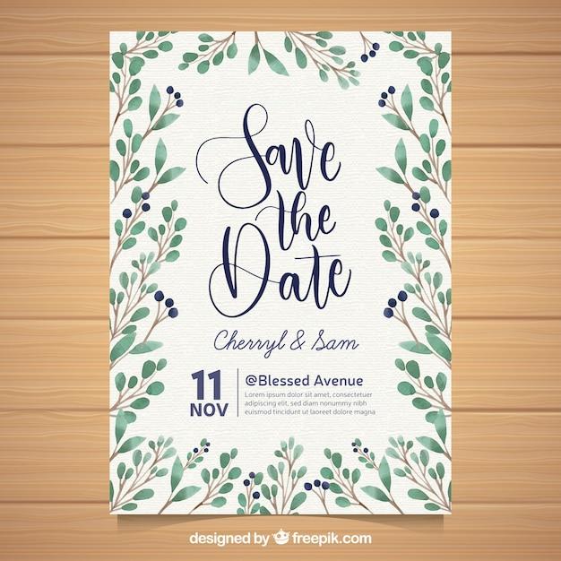 美しい結婚式の招待状に水彩の葉 無料ベクター
