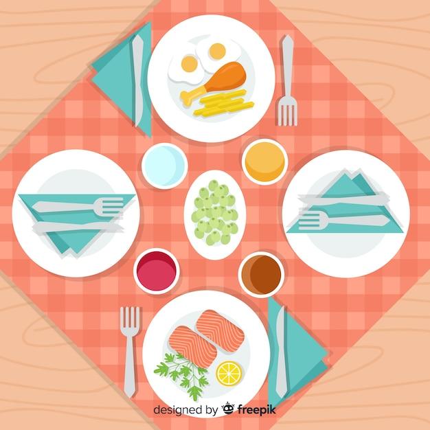 フラットデザインのレストランのテーブルのトップビュー 無料ベクター