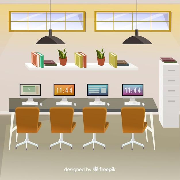 フラットデザインのモダンなオフィスインテリア 無料ベクター