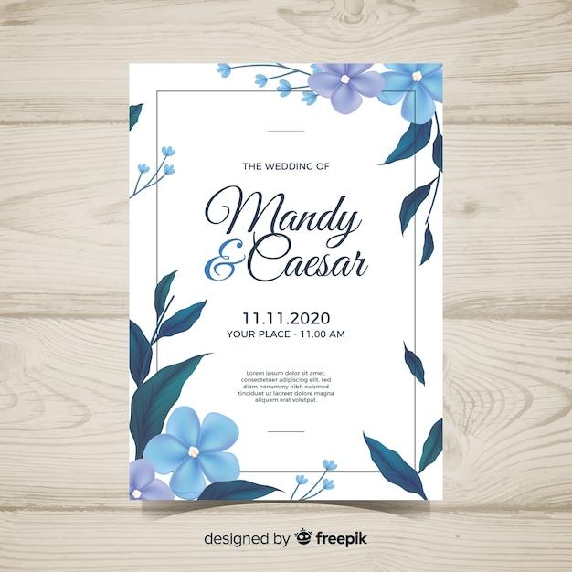 現実的なデザインと素敵な花嫁の結婚式の招待状 無料ベクター