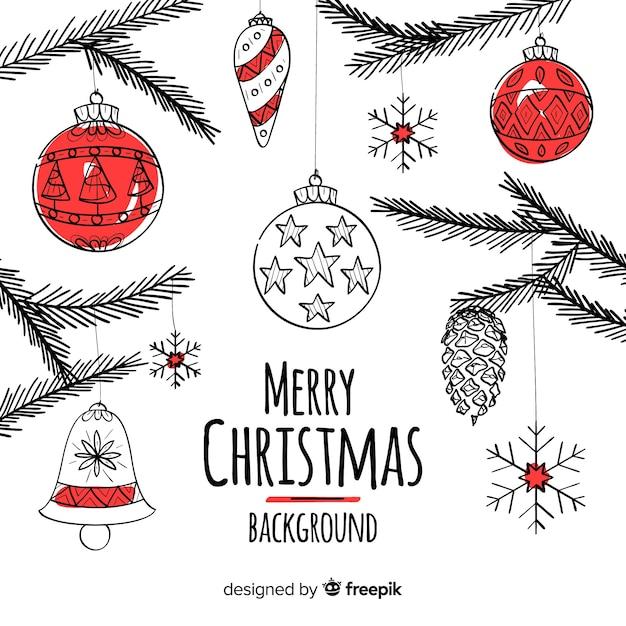 素敵な手描きのクリスマスの背景 無料ベクター