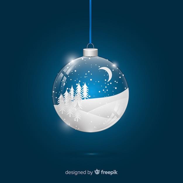 雪のフィールド現実的なクリスマスボール 無料ベクター