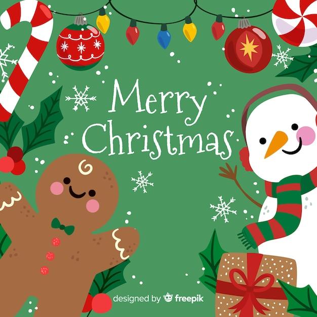 かわいいメリークリスマスの背景に雪だるまとジンジャーブレッド 無料ベクター