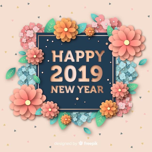 紙のスタイルの新年2019年の背景 無料ベクター